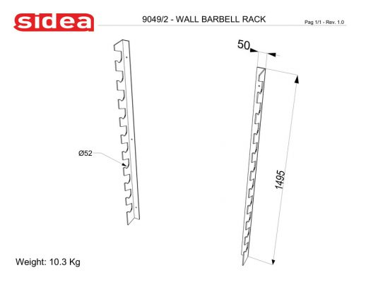 9049/2 Wall Barbell Rack