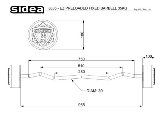 8610-8645 Bilancieri EZ Precaricati - EZ Fixed Rubber Barbell