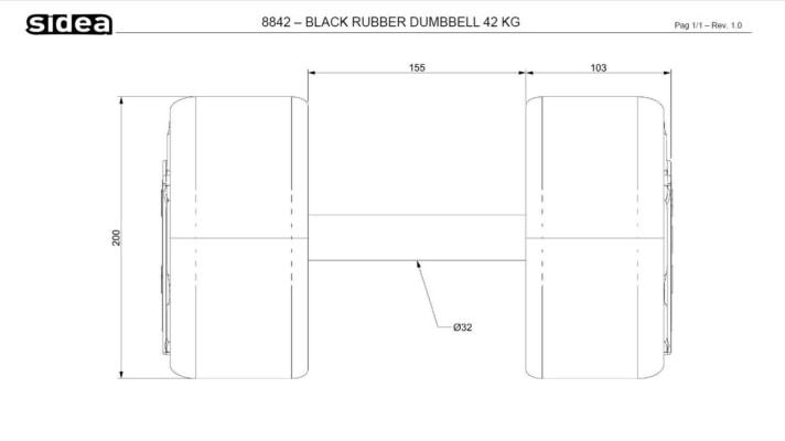 8802-8850 Black PU Rubber Dumbbell