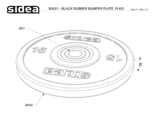 9040/1-9044/1 Black Rubber Bumper Plate - Dischi in gomma