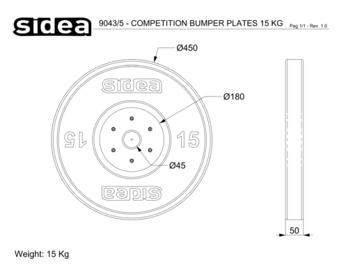 9042/5V-9046/5V Competition Bumper Plate in gomma