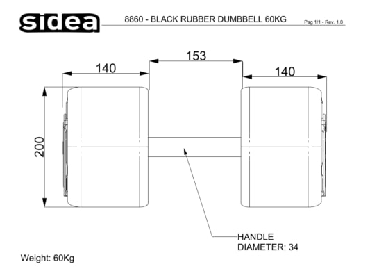 8802-8879 Black PU Rubber Dumbbell