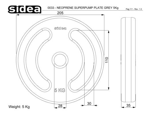 0031-0033 Piastre 28 mm Super Pump in Neoprene