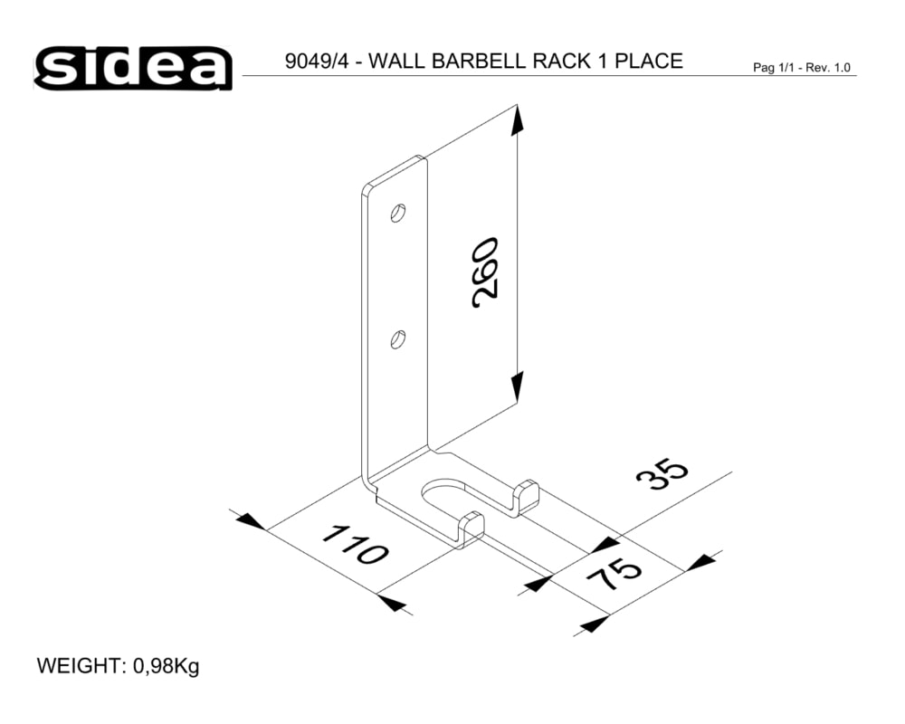 9049_4 - WALL BARBELL RACK 1 PLACE